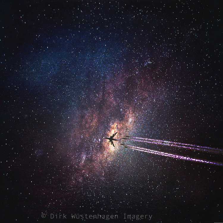 Airplane crossing a starry sky - phoromanipulation