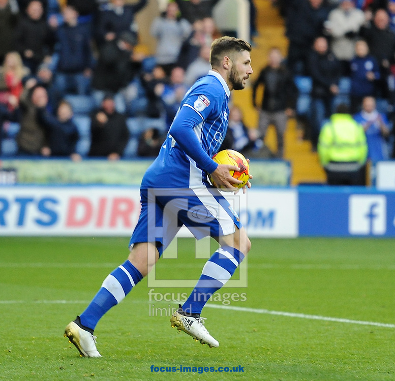 Gary Hooper of Sheffield Wednesday retreives the ball after scoring to make it 1-1 during the Sky Bet Championship match at Hillsborough, Sheffield<br /> Picture by Richard Land/Focus Images Ltd +44 7713 507003<br /> 05/11/2016