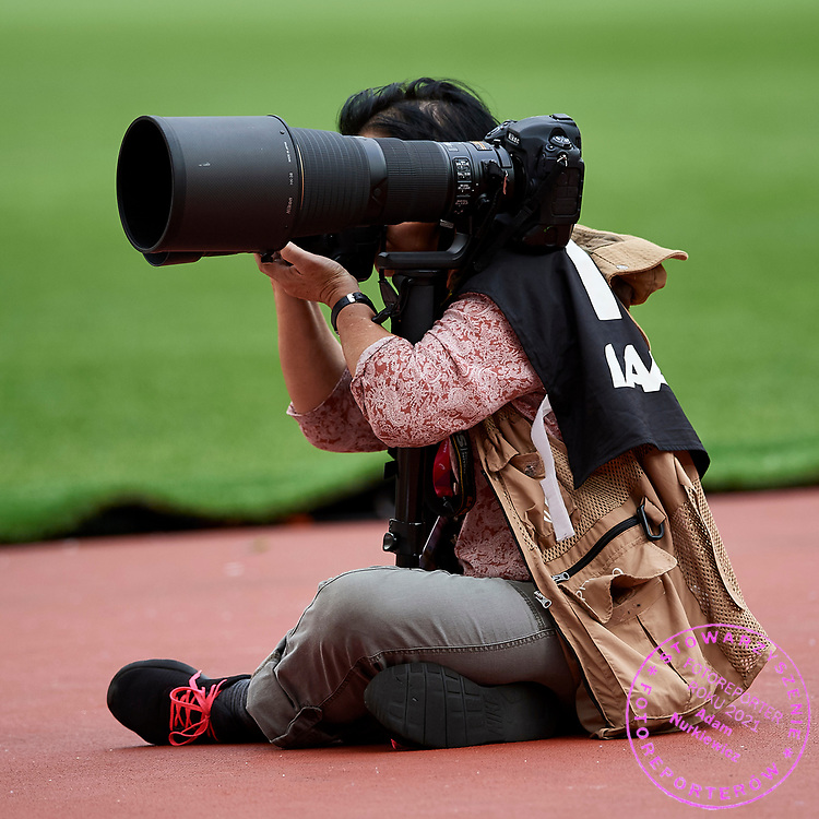 Great Britain, London - 2017 August 12: Photographer Gladys von der Laage during IAAF World Championships London 2017 Day 9 at London Stadium on August 12, 2017 in London, Great Britain.<br /> <br /> Mandatory credit:<br /> Photo by &copy; Adam Nurkiewicz<br /> <br /> Adam Nurkiewicz declares that he has no rights to the image of people at the photographs of his authorship.<br /> <br /> Picture also available in RAW (NEF) or TIFF format on special request.<br /> <br /> Any editorial, commercial or promotional use requires written permission from the author of image.