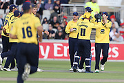 Tim Ambrose of the Birmingham Bears celebrates a wicket with the team during the Vitality T20 Blast North Group match between Lancashire Lightning and Birmingham Bears at the Emirates, Old Trafford, Manchester, United Kingdom on 10 August 2018.