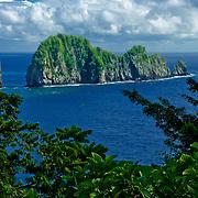 Pola Island juts out of Vai'ava Strait off Tutuila Island, American Samoa.