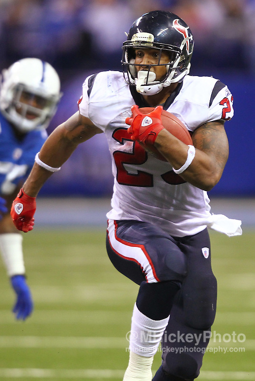 Dec. 22, 2011; Indianapolis, IN, USA; Houston Texans running back Arian Foster (23) runs the ball against the Indianapolis Colts at Lucas Oil Stadium. Indianapolis defeated Houston 19-16. Mandatory credit: Michael Hickey-US PRESSWIRE