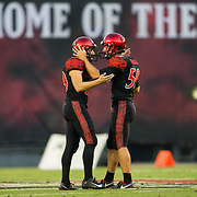08 September 2018:  San Diego State Aztecs place kicker John Baron II (29) and holder Brandon Heicklen (59) celebrate after Baron hit a 52 yard field goal to give the Aztecs a 10-0 lead in the second quarter. The San Diego State Aztecs beat the Sacramento State Hornets 28-14 in their first home game of the season at SDCCU Stadium.