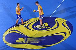 Drasko Mrvaljevic (11) and Bojan Skoko (2) at handball match of 4th Round of EHF Men Championsleague between RK Cimos Koper (SLO) and Steaua MFA Bucuresti (ROM), in Arena Bonifika, Koper, Slovenia, on November 8, 2008. Steaua  won the match 30:29.
