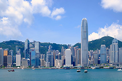 Daytime skyline of skyscrapers in Hong Kong from Kowloon on a clear day