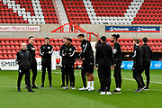 Yeovil Town manager Darren Way and his players on the pitch on arrival before the EFL Sky Bet League 2 match between Swindon Town and Yeovil Town at the County Ground, Swindon, England on 10 April 2018. Picture by Graham Hunt.