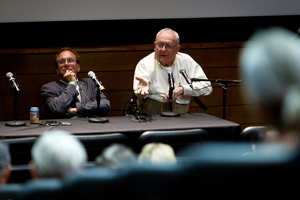 """Dave Zweifel, right, makes a point during his panel """"Celebrating two progressive icons — The Capital Times at 100 and the late Ed Garvey"""" during the Cap Times 2017 Idea Fest, Saturday, September 16, 2017"""