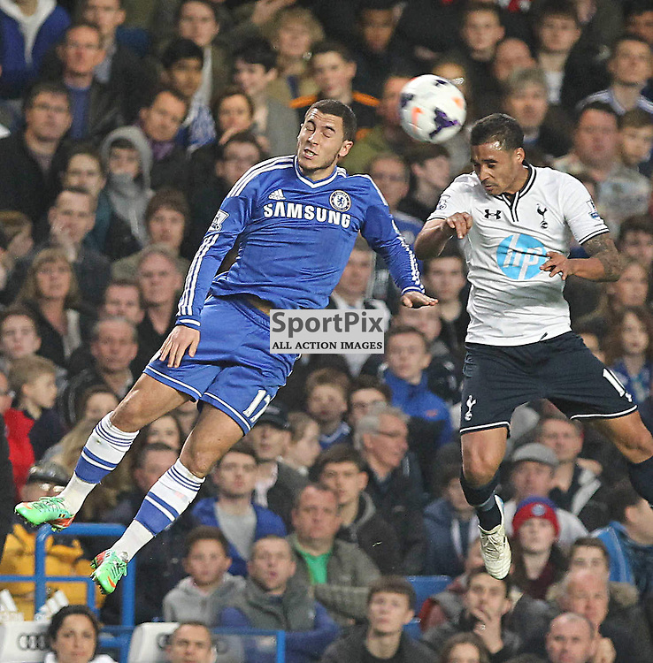 Chelsea's Oscar and Tottenham's Kyle Naughton battle for the ball during the English Barclays Premiership match between Chelsea FC and Tottenham Hotspur FC at Stamford Bridge, London, 8th March 2014 © Phil Duncan | SportPix.org.uk
