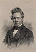 Denison Olmsted (1791-1859), American physicist and astronomer, known for his observations of hail, meteors and the aurora borealis. Engraving, 1896.