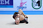 Alina Maksimenko during qualifying at ball in the Pesaro World Cup at the Adriatic Arena in Pesaro, Italy on 26 April 2013.<br />