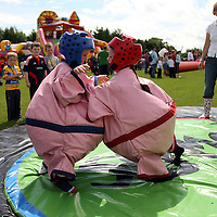 Jason McCarthy and Eoin Devaney go sumo at the Scariff Harbour Festival at the weekend.<br /> Photograph by Yvonne Vaughan
