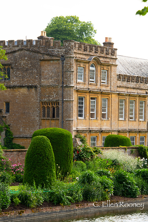 A lush herbaceous border at Forde Abbey, Chard, Dorset, UK