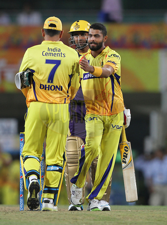 Ravindra Jadeja of The Chennai Superkings celebrate victory after match during match 21 of the Pepsi Indian Premier League Season 2014 between the Chennai Superkings and the Kolkata Knight Riders  held at the JSCA International Cricket Stadium, Ranch, India on the 2nd May  2014<br /> <br /> Photo by Deepak Malik / IPL / SPORTZPICS<br /> <br /> <br /> <br /> Image use subject to terms and conditions which can be found here:  http://sportzpics.photoshelter.com/gallery/Pepsi-IPL-Image-terms-and-conditions/G00004VW1IVJ.gB0/C0000TScjhBM6ikg