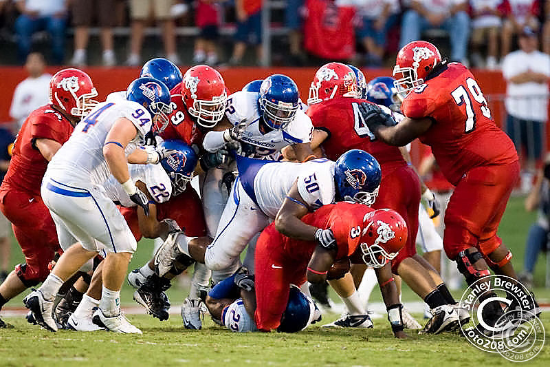 Boise State Broncos football team defeated the Fresno State Bulldogs 51-34 Friday September 18th 2009 in Bulldog Stadium in Fresno California.