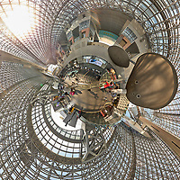 Kyoto Train Station Level Two -- Little Planet View (0.20x). Composite of 43 images taken with a Leica CL camera and 18 mm f/2.8 lens (ISO 400, 18 mm, f/5.6, 1/60 sec). Raw images processed with Capture One Pro and AutoPano Giga Pro.