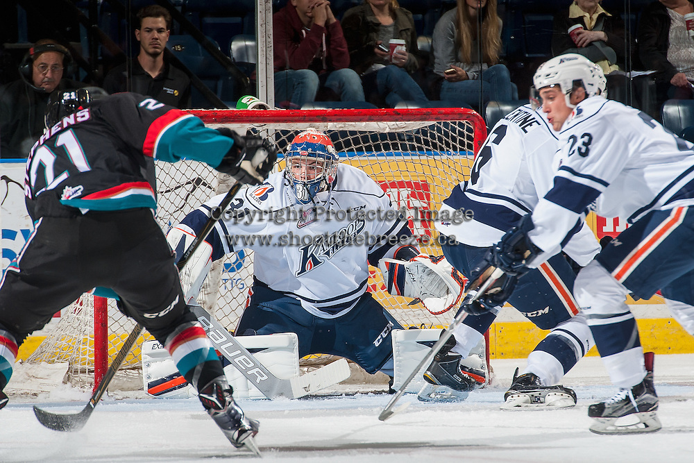 KELOWNA, CANADA - SEPTEMBER 9: Dylan Ferguson #31 of Kamloops Blazers defends the net against the Kelowna Rockets on September 9, 2016 at Prospera Place in Kelowna, British Columbia, Canada.  (Photo by Marissa Baecker/Shoot the Breeze)  *** Local Caption *** Dylan Ferguson;