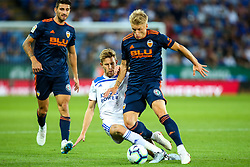 Daniel Wass of Valencia is tackled by Callum Elder of Leicester City - Mandatory by-line: Robbie Stephenson/JMP - 01/08/2018 - FOOTBALL - King Power Stadium - Leicester, England - Leicester City v Valencia - Pre-season friendly