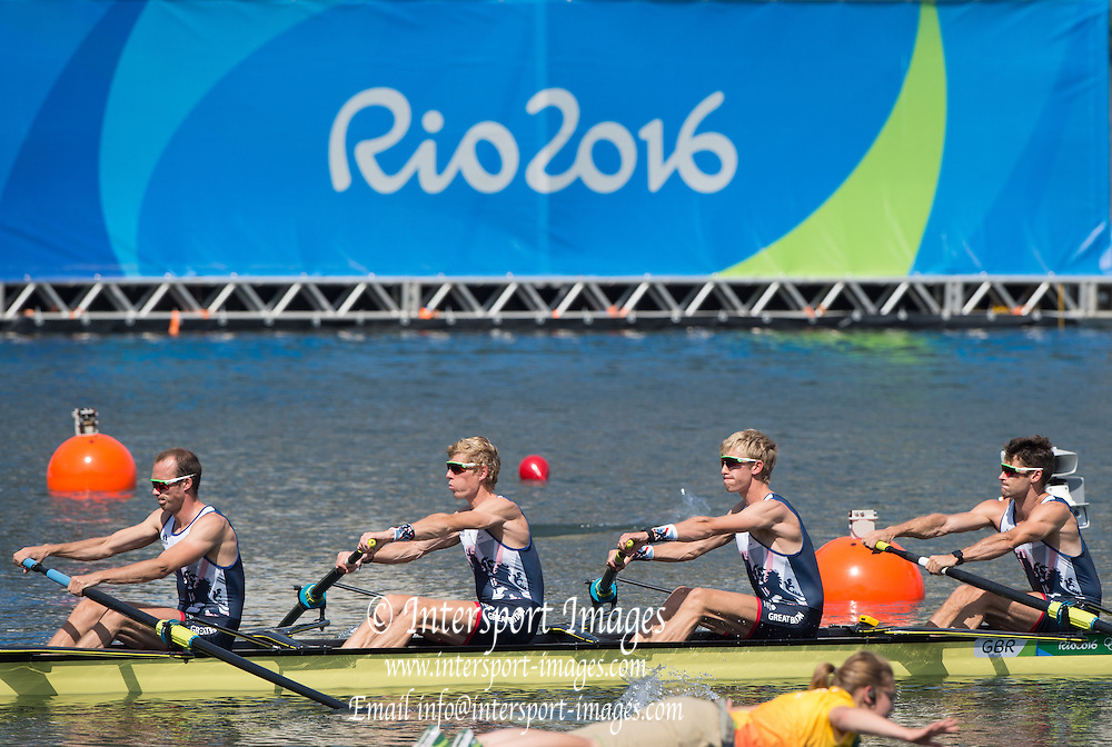 Rio de Janeiro. BRAZIL.   GBR LM4-. Bow, Chris BARTLEY, Mark ALDRED, Jonno CLEGG and Peter CHAMBERS, during their heat at the 2016 Olympic Rowing Regatta. Lagoa Stadium,<br /> Copacabana,  &ldquo;Olympic Summer Games&rdquo;<br /> Rodrigo de Freitas Lagoon, Lagoa. Local    Saturday  06/08/2016 <br /> <br /> [Mandatory Credit; Peter SPURRIER/Intersport Images]