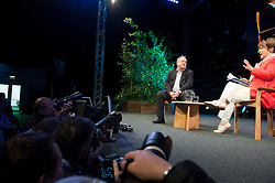 © London News Pictures. 31/05/2015. Hay-on-Wye, Powys, Wales, UK. On the last day of the Hay Festival 2015, Scottish politician and former SNP leader, Alex Salmond, talks to Helena Kennedy:  'Yes' - The inside story of the campaign for Scottish independence, told in Salmond's diary – The Dream Shall Never Die: 100 Days That Changed Scotland Forever. Photo credit : Graham M. Lawrence/LNP.