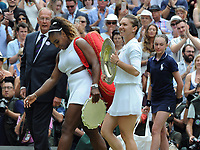 Tennis - 2019 Wimbledon Championships - Week Two, Saturday (Day Twelve)<br /> <br /> Women's Singles, Final: Serena Williams (USA) vs. Simona Halep (ROU)<br /> <br /> Simona Halep and Serena Williams leave the court with their silver ware, on Centre Court.<br /> <br /> COLORSPORT/ANDREW COWIE