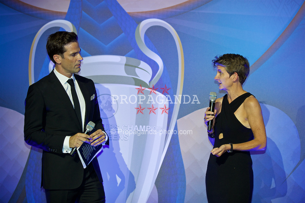 CARDIFF, WALES - Wednesday, August 31, 2016: Gethin Jones and Laura McAllister during a gala dinner at the Cardiff Museum to launch the UEFA Champions League Finals 2017 to be held in Cardiff. (Pic by David Rawcliffe/Propaganda)