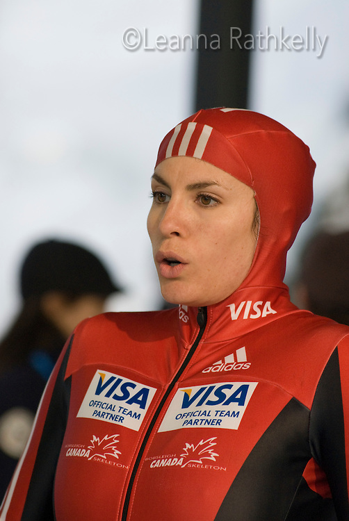 Mellisa Hollingsworth from Canada competes in the Womens' Skeleton race at Whistler Sliding Centre on February 5, 2009