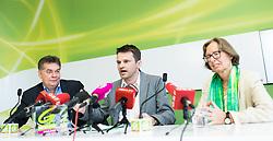 24.05.2017, Grüner Parlamentsklub, Wien, AUT, Grüne, Pressekonferenz mit Präsentation des neuen Chef des grünen Parlamentsklubs. im Bild v.l.n.r. Stv. Klubobmann und Budgetsprecher der Grünen Werner Kogler, designierter Klubobmann der Grünen Albert Steinhauser und Stv. Klubobfrau der Grünen Gabriela Moser // f.l.t.r. Assistant-leader and budgetary speaksman of the greens Werner Kogler, Leader of the parliamentary group of the greens Albert Steinhauser and Assistant.leader of the parliamentary group the greens Gabriela Moser during presentation of the new leader of the parliamentary group the greens in Vienna, Austria on 2017/05/24. EXPA Pictures © 2017, PhotoCredit: EXPA/ Michael Gruber
