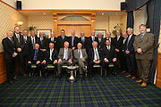 Dundee FC 40th Anniversary of Scottish League Cup win dinner - top table guests<br /> <br /> Standing - Left to right - Gordon Strachan, Scot Gardiner (Dundee CEO), Steve Martin (Dundee director), Ian Scott, Bobby Wilson, Steve Murray, Alex Caldwell, Dave Johnston, Harold Davis (1973 coach), Bobby Ford, Eric Ferguson (1973 physio), Thomson Allan, Iain Chrighton (Dundee director), John Duncan, Colin Reid (Dundee director).<br />  - <br /> Seatedm- Left to right - Jimmy Wilson, Jocky Scott, Gordon Wallace, Graham Thomson (Dundee director in 1973), Peter Lorimer (Speaker), John Nelms (Dundee director).<br /> <br />  - &copy; David Young - www.davidyoungphoto.co.uk - email: davidyoungphoto@gmail.com
