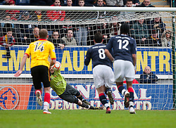 Falkirk's Michael McGovern saves Partick Thistle's penalty..Falkirk 1 v 1 Partick Thistle, 10/3/2012..©Michael Schofield.