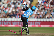 Worcestershire Rapids Joe Clarke bowled during the Vitality T20 Finals Day semi final 2018 match between Worcestershire Rapids and Lancashire Lightning at Edgbaston, Birmingham, United Kingdom on 15 September 2018.