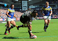 Ben Murdoch-Masila of Warrington Wolves scors the fourth try against Leeds Rhinos during the Ladbrokes Challenge Cup Semi Final match at the Macron Stadium Stadium, Bolton.<br /> Picture by Michael Sedgwick/Focus Images Ltd +44 7900 363072<br /> 05/08/2018