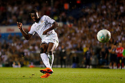Leeds United forward Edward Nketiah (14), on loan from Arsenal, scores his penalty during the EFL Cup match between Leeds United and Stoke City at Elland Road, Leeds, England on 27 August 2019.
