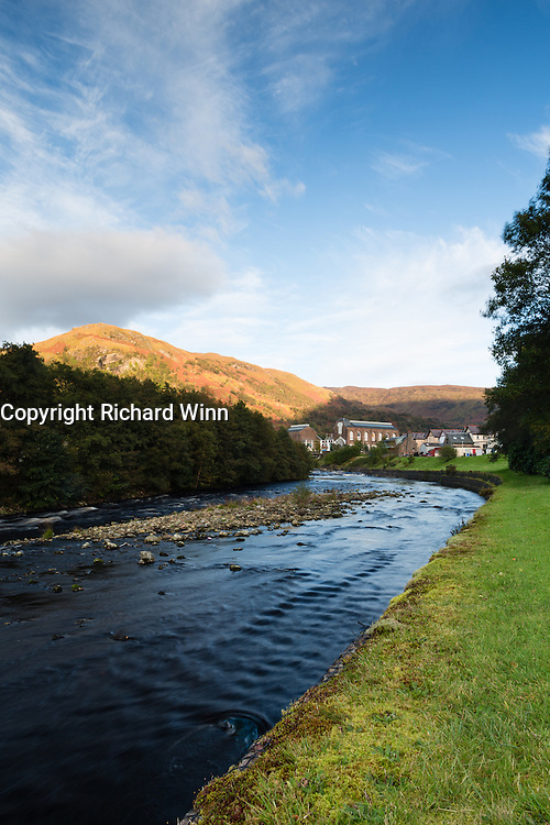 View of the town of Kinlochleven, in the Scottish Highlands, from the banks of the River Leven.