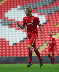 LIVERPOOL, ENGLAND - Saturday, January 8, 2011: Liverpool's Kristjan Emilsson celebrates scoring the first equalising goal against Crystal Palace during the FA Youth Cup 4th Round match at Anfield. (Pic by: David Rawcliffe/Propaganda)