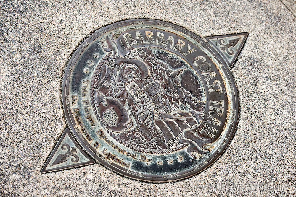 A marker embedded into the sidewalk for the Barbary Trail in San Francisco's North Beach neighborhood.
