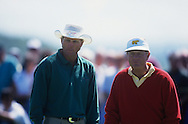 Greg Norman Jack Nicklaus<br /> The Open Championship 1994<br /> <br /> <br /> Picture Credit:  Mark Newcombe / www.visionsingolf.com