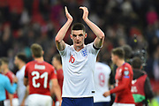 Declan Rice of England who made his debut applauds the fans at full time after England won 5-0 during the UEFA European 2020 Qualifier match between England and Czech Republic at Wembley Stadium, London, England on 22 March 2019.
