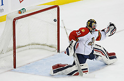 Feb 28, 2009; Newark, NJ, USA; New Jersey Devils left wing Zach Parise (9) scores past Florida Panthers goalie Craig Anderson (31) during the first period at the Prudential Center.