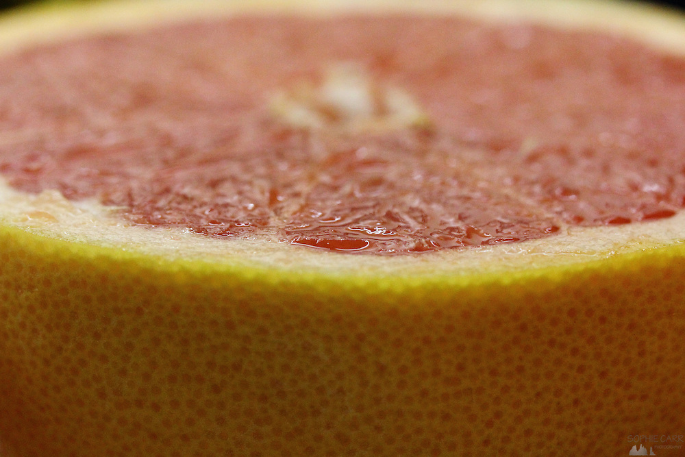 Macro of a pink grapefruit