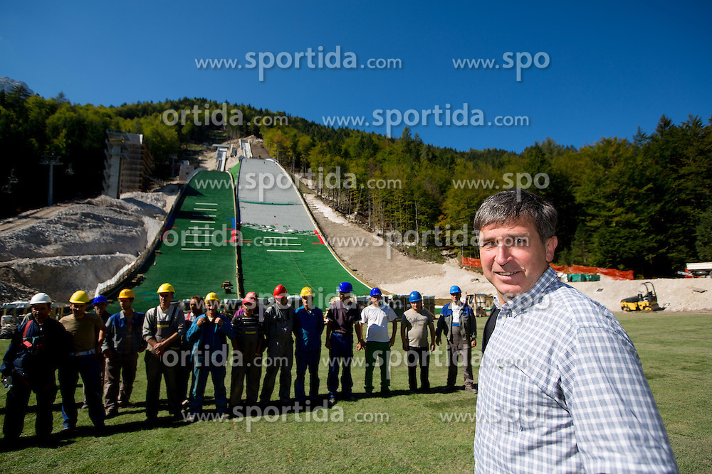 Jelko Gros at media day of Slovenian Ski jumping team during construction of two new 120m and 100m hills in Planica on September 18, 2012 in Planica, Slovenia. (Photo By Vid Ponikvar / Sportida)