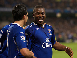 MANCHESTER, ENGLAND - Monday, February 25, 2008: Everton's goalscorer Yakubu Ayegbeni celebrates the opening goal with team-mate Tim Cahill (L) against Manchester City during the Premiership match at the City of Manchester Stadium. (Photo by David Rawcliffe/Propaganda)