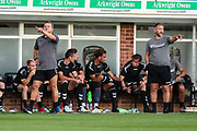 Forest Green Rovers manager, Mark Cooper and Forest Green Rovers assistant manager, Scott Lindsey during the Pre-Season Friendly match between Hereford and Forest Green Rovers at Edgar Street, Hereford, United Kingdom on 25 July 2018. Picture by Shane Healey.