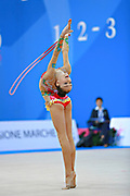 """Adilkhanova Alina from Kazakhstan during rope routine at  the International Tournament """"Città di Pesaro"""",01 April,2016.This tournament dedicated to the youngest athletes is at the same time of the World Cup."""