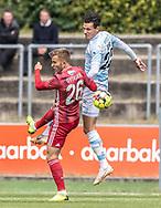Frederik Gytkjær (Lyngby Boldklub) og Pascal Gregor (FC Helsingør) under træningskampen mellem Lyngby Boldklub og FC Helsingør den 3. juli 2019 på Lyngby Stadion (Foto: Claus Birch)