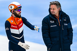 Coach Jeroen Otter, Sjinkie Knegt back on track during the training for ISU World Cup Finals Shorttrack 2020 on February 12, 2020 in Sportboulevard Dordrecht.