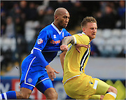 Calvin Andrew, Byron Webster during the Sky Bet League 1 match between Rochdale and Millwall at Spotland, Rochdale, England on 13 February 2016. Photo by Daniel Youngs.