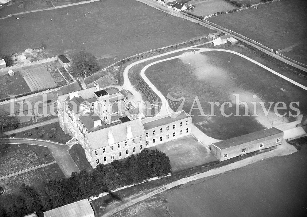 A384 St Muredack's, Ballina.   09/03/56. (Part of the Independent Newspapers Ireland/NLI collection.)<br /> <br /> These aerial views of Ireland from the Morgan Collection were taken during the mid-1950's, comprising medium and low altitude black-and-white birds-eye views of places and events, many of which were commissioned by clients. From 1951 to 1958 a different aerial picture was published each Friday in the Irish Independent in a series called, 'Views from the Air'.