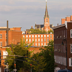 The view from the corner of Elm and Stark Streets in Manchester, New Hampshire.