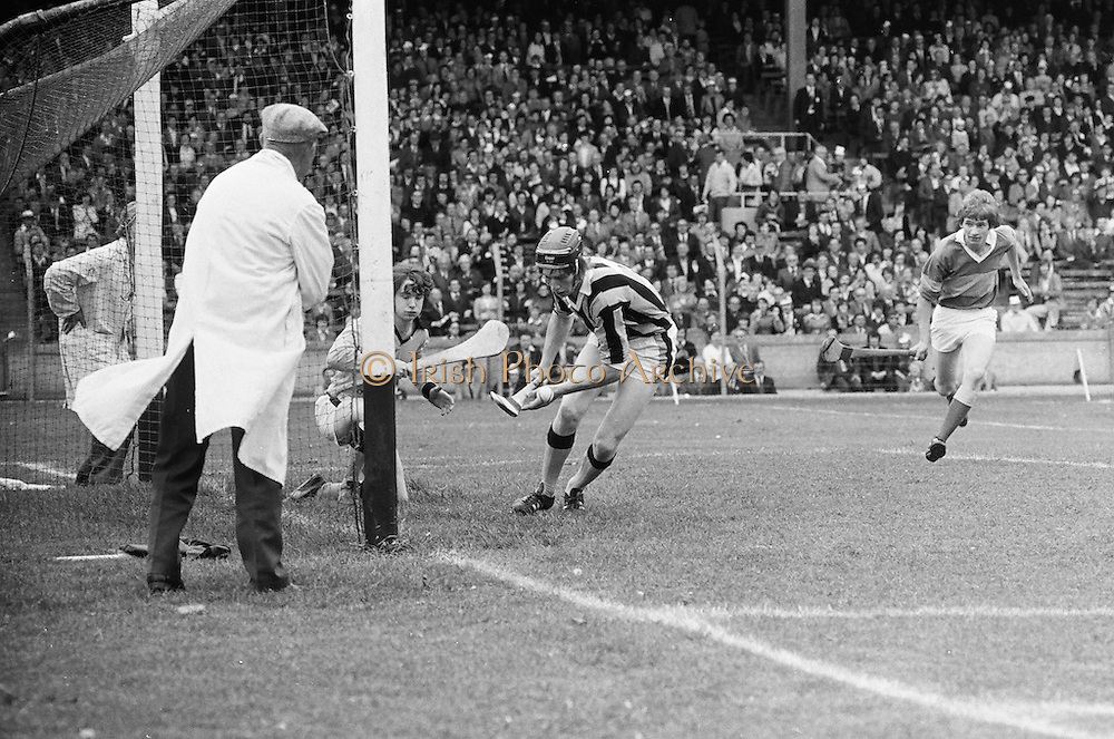 Joint effort by the Kilkenny goalie and player to save the ball during the All Ireland Minor Hurling Final, Tipperary v Kilkenny in Croke Park on the 5th September 1976.