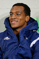 Andre Wisdom of West Brom looks on from his seat on the substitutes bench - Photo mandatory by-line: Rogan Thomson/JMP - 07966 386802 - 11/02/2015 - SPORT - FOOTBALL - West Bromwich, England - The Hawthorns - West Bromwich Albion v Swansea City - Barclays Premier League.